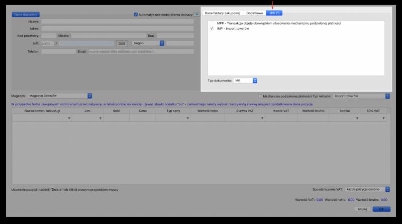 oznaczenia faktur zakupowych w JPK_V7