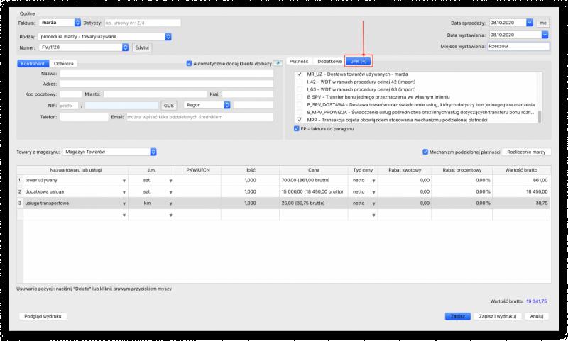 oznaczenia kodów GTU i procedur dla nowego JPK