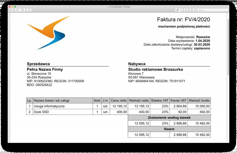 faktura split payment