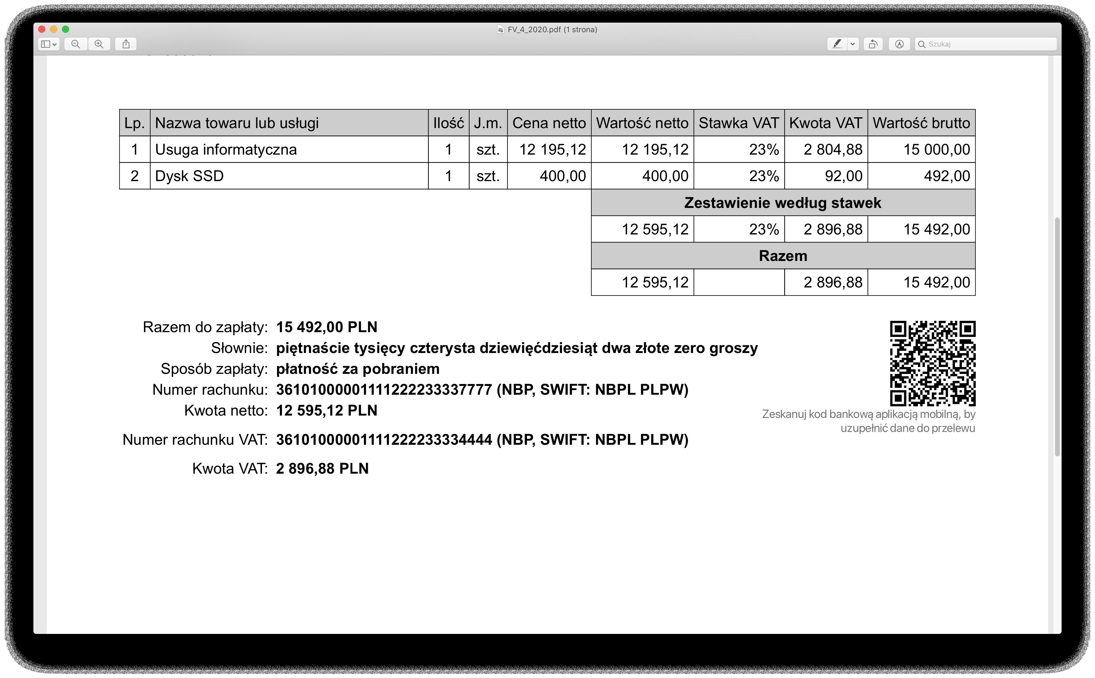 faktura MPP z rachunkiem VAT